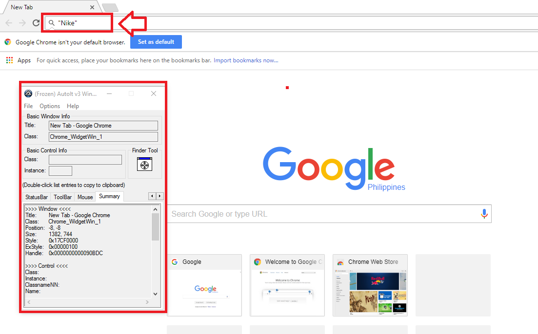 Locate the present address bar in Google Chrome (AutoIT