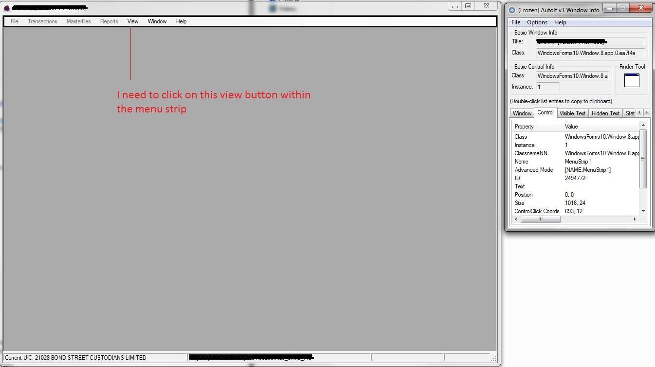 Unable to ControlClick on menu item in Windows - AutoIt