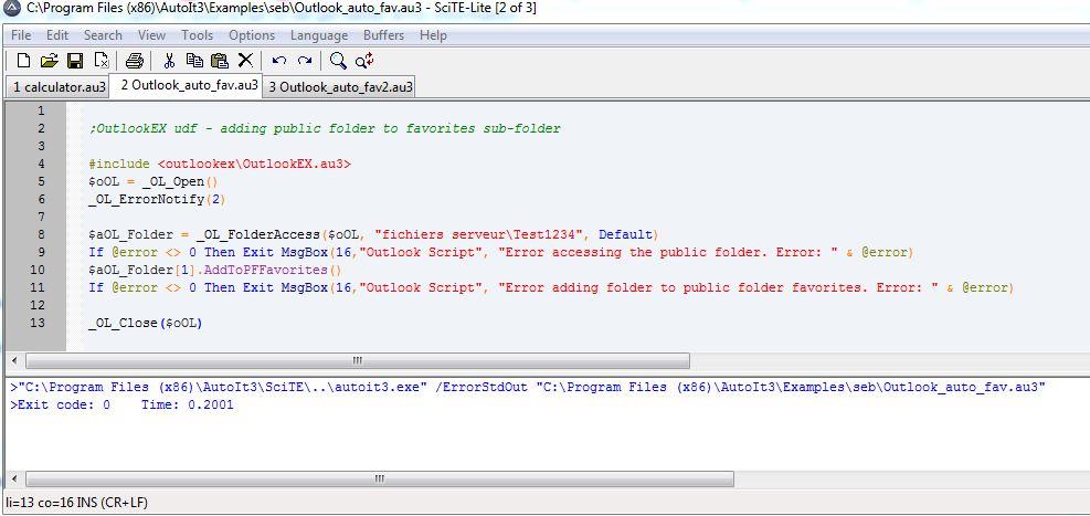 OutlookEX udf - adding public folder to favorites sub-folder
