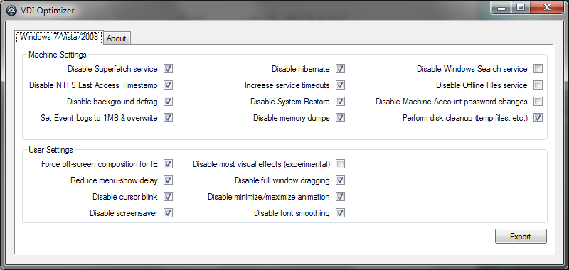 AutoIt Tools VDI Optimizer