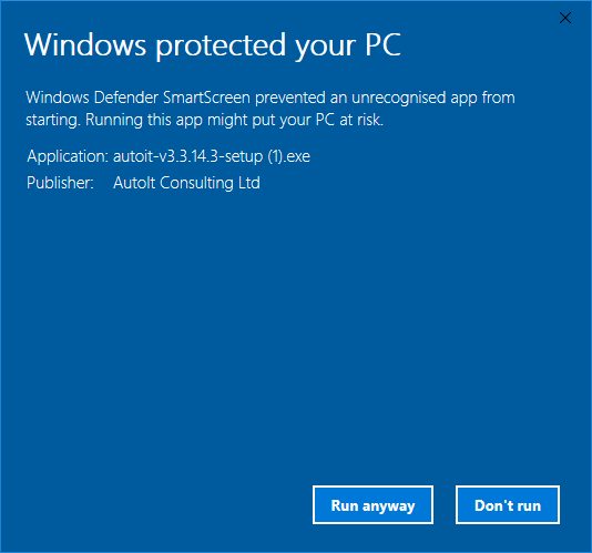 SmartScreen Windows Protected Your PC Run Anyway