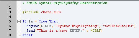 A demonstration of syntax highlighting using the default theme.